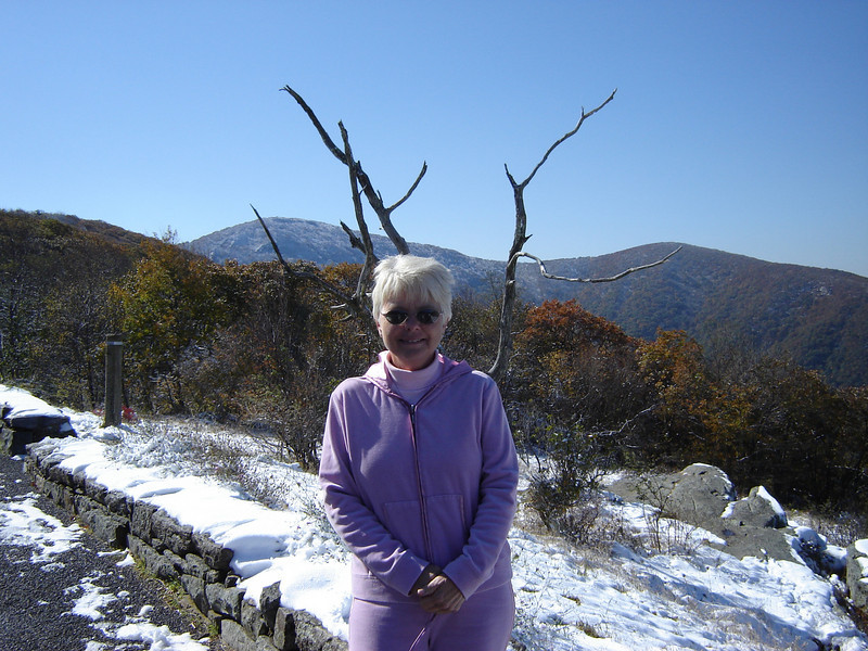 Kay with her Spring colors in a Winter setting.