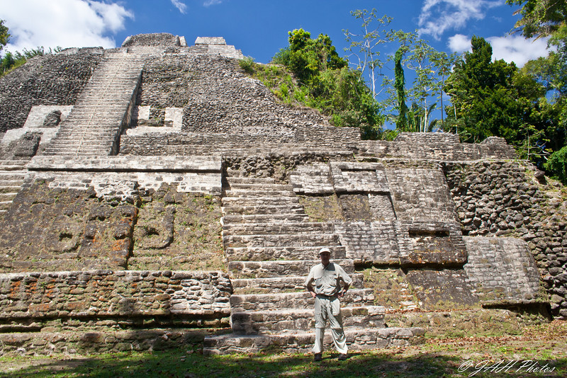 Me at the base of the tallest pyramid at Lamanai<br /> Built around 100 bc<br /> Belize