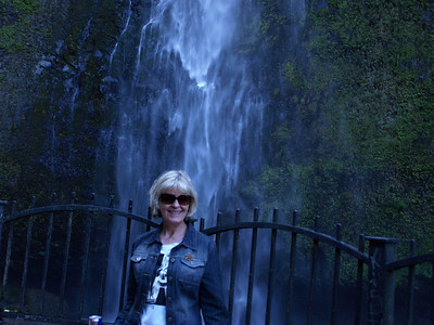 Suzi at Multnomah Falls