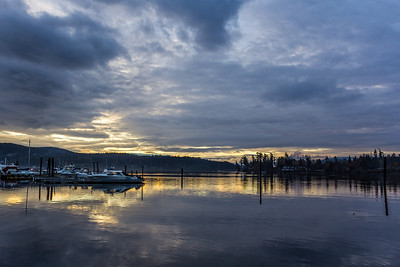 Sunrise at the Sooke Harbour Resort & Marina.