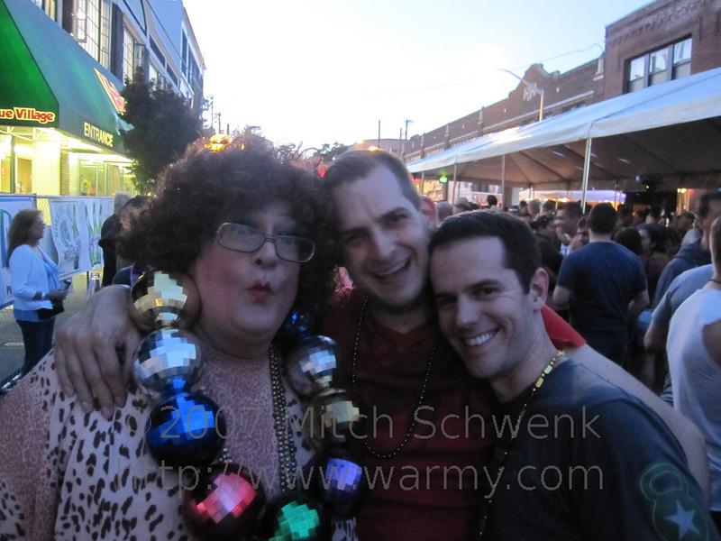 Random drag queen, Mitch and Lance.