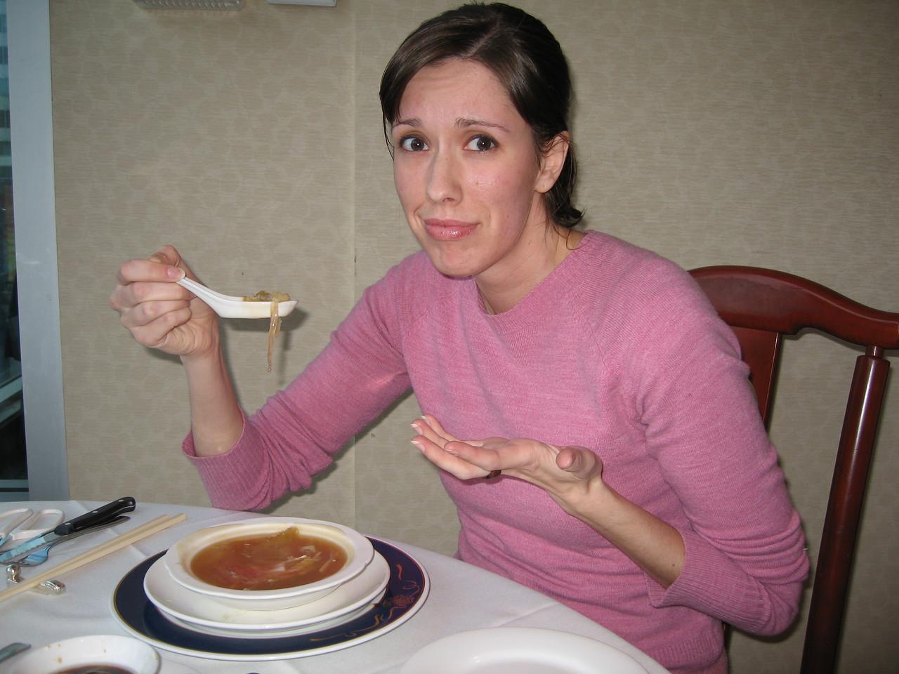 """Jenn on Shark Fin Soup - """"Poor sharks!"""""""