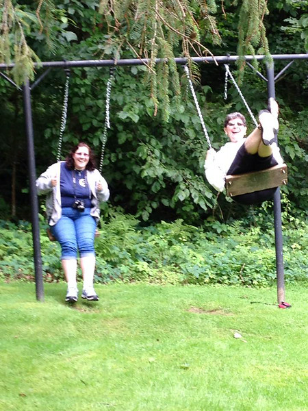 Susan and Karen on the swings at the West Mountain Inn - Aug. 14, 2014