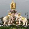 These beautiful elephants were in the center of a traffic rotary beside the Palace