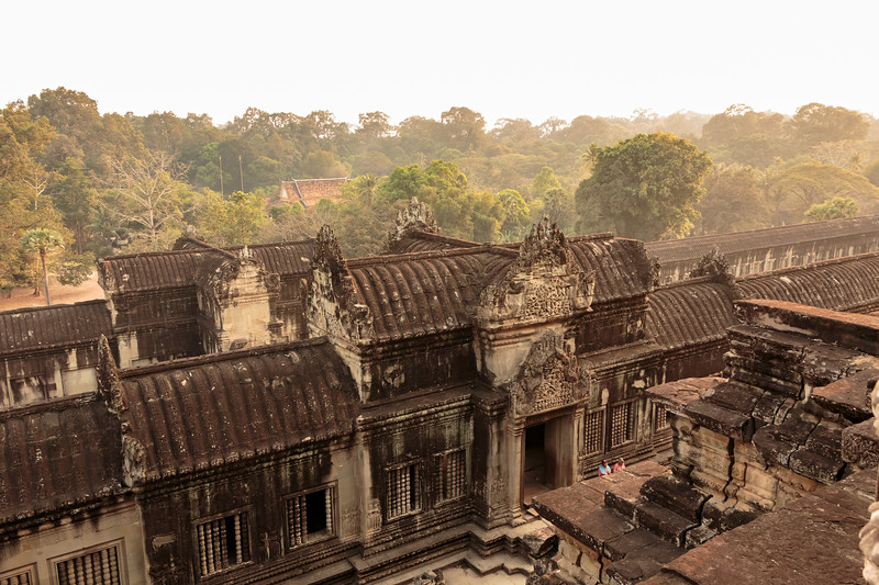 Looking out from the upper level temple of Angkor Wat
