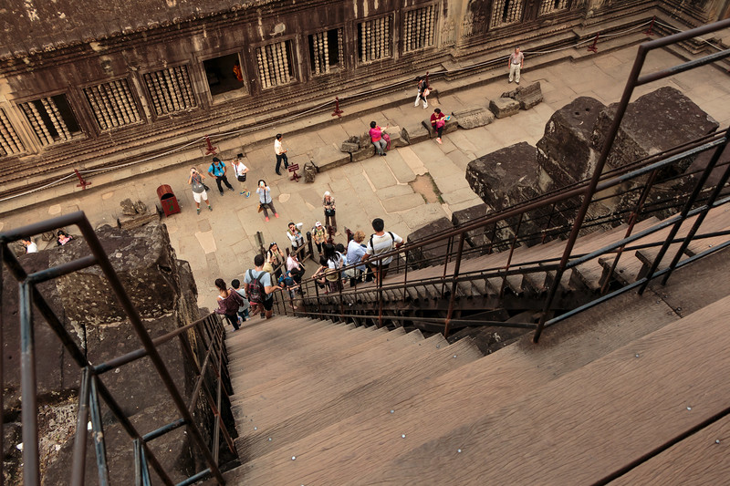 Stairs looking down from the upper level of Angkor Wat