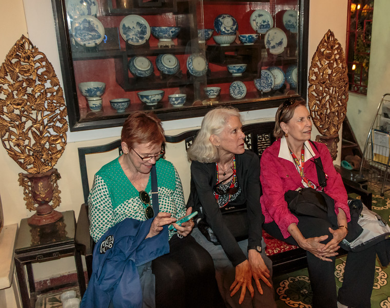 Cindi, Beth and Maureen waiting for dinner at the family operated restaurant in Hue