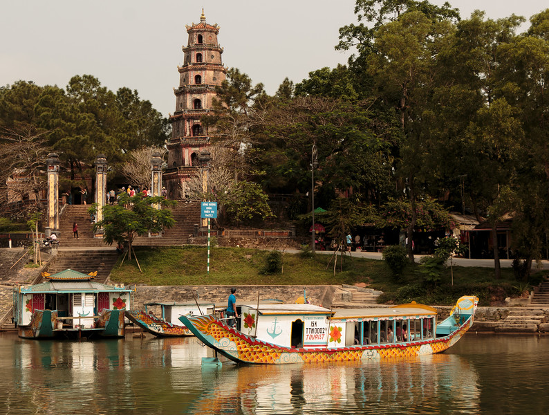 Boat dock on the Perfume River at the Thien Mu Pagoda