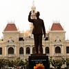 Statue of Ho Chi Minh in front of Reunification Palace in downtown Saigon