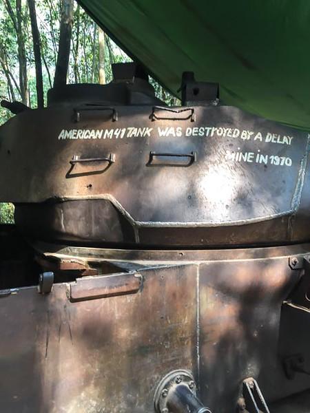 A captured US tank on display