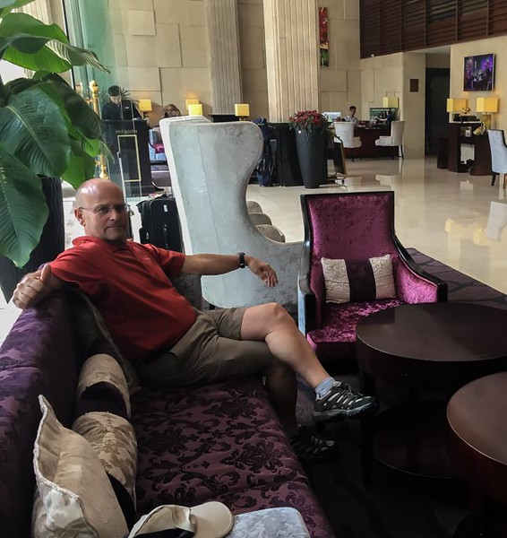 Doug hanging out in our Saigon hotel lobby