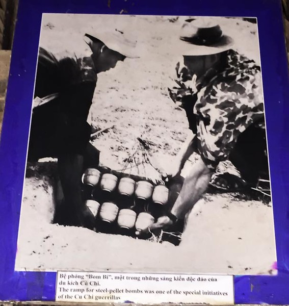"""The caption reads """"The ramp for steel-pellet bombs was one of the special initiatives of the Cu Chi guerrillas""""."""