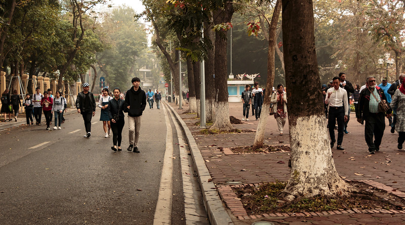 The city of Hanoi closed this street on Sundays which happened to be the way we walked to the water puppet theater
