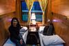 Tonight, we are taking the train to Sa Pa. Here we are in our cabin, ready to spend a night at 40km/h...   --  Nous voici dans le train de nuit pour Sa Pa. Nous nous préparons a passer une nuit à 40 km/h de moyenne jusqu'à Sa Pa situé à 350km seulement!