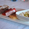 Viking Odin: Day 2 Fig and Rhubarb tart, Strawberry Ice cream with raspberry pound cake, and Cream with Pistachio