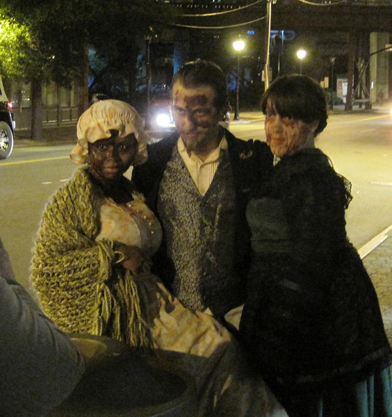 "October 11, 2012 - (""Eerie Night's [Ghost Walk @ 17th Street Market] / Richmond, Virginia) -- Our Guides Lula May [left[ & Captain Jack [center] & hostess [right]"