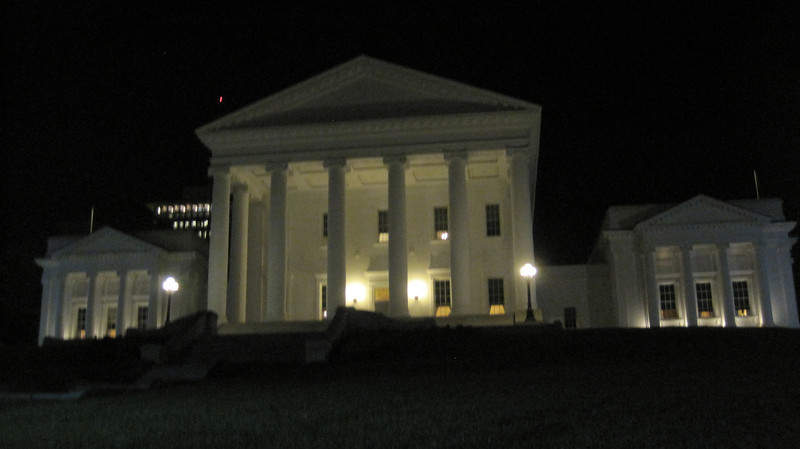 October 11, 2012 - (Virginia State Capitol [Bank Street] / Richmond, Virginia) -- Virginia State Capitol at night on Ghost Walk