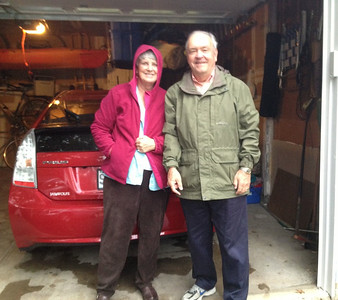 October 5, 2012 - (Grand Glen Drive / Manchester, Saint Louis County, Missouri) - Mary Anne and David depart in the Prius in the rain