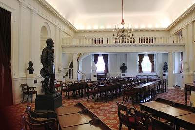 October 11, 2012 - (Virginia State Capitol [upper floor] / Richmond, Virginia) -- Original Chamber of House of Delegates & Statue of Robert E. Lee