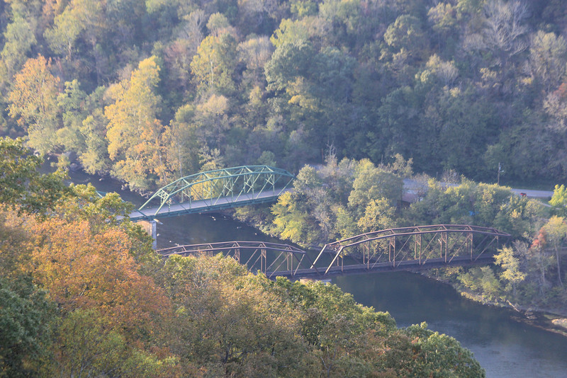 October 13, 2012 - (New River Gorge National River [Grandview visitor center North overlook] / Grandview, Raleigh County, West Virginia) -- Bridges [telephoto]