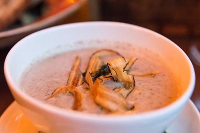 Smoked Mushroom Bisque Wild Nettle Pistou, Sunflower Seed, Salsify