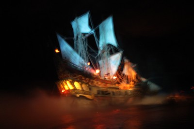 Look is that a ghost ship????  Actually it is a fuzzy picture of the first ship that you see on the Pirates of the Caribbean ride.