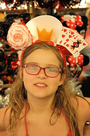 """""""off with their heads'"""" Anissa looking cute in the """"Queen of Hearts"""" Mickey ears."""