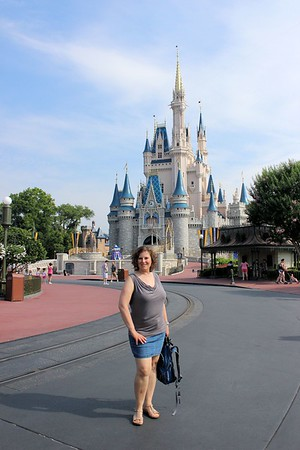 Not sure how we managed this one but it looks like Lorinda is one of the few people at Disney World. The street is empty.  Great shot of Lorinda!