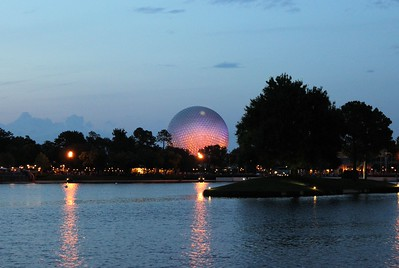 Now Spaceship Earth at night.