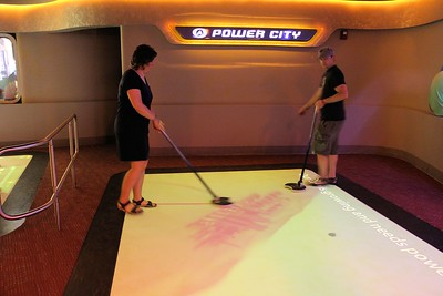 """This was a fun game where you had to use the sticks to push """"pucks"""" to the power plants for the city.  It was a challenging game."""