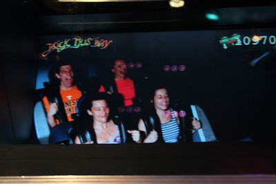This was the first time I ever rode the Rock 'n' Roller Coaster. It accelerates from 0 to 57 miles per hour in 2.8 seconds. That is when they take your picture.  As you can see I was really enjoying it.   The riders experience 4.5 G (44 m/s2) as they enter the first inversion, more than an astronaut does on a space shuttle launch