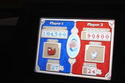 This was our score on the Toy Story ride. You are actually playing a video game.  I was player 2 and did  not do well. Lorinda was payer 1.