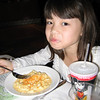 Evelyn enjoying her macaroni and cheese