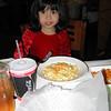 Heather enjoying her macaroni and cheese