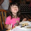 Evelyn enjoying her macaroni and cheese