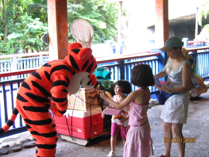 Heather and Evelyn saying hello to Tigger at Disney's Animal Kingdom.