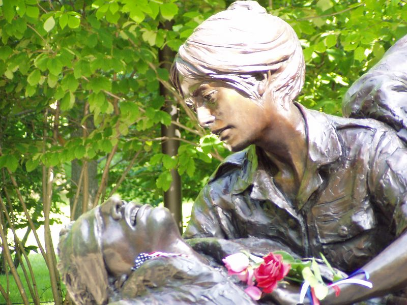 Close up of statue honoring nurses who served in Vietnam.