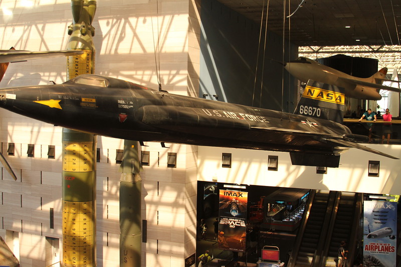 The X-15, interestingly, Neil Armstrong also flew this very aircraft...Which happens to be right above the Apollo 11 CM