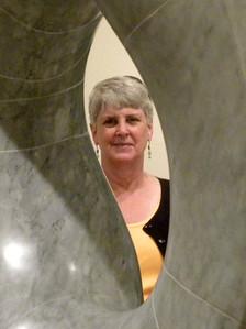 June 23, 2010 - (The National Portrait Gallery / Washington D.C.) -- MaryAnne framed inside center of sculpture by Isamu Noguchi