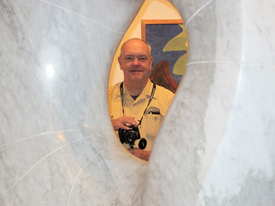 June 23, 2010 - (The National Portrait Gallery / Washington D.C.) -- David framed inside center of sculpture by Isamu Noguchi