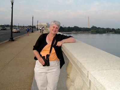 June 23, 2010 - (Arlington Memorial Bridge / Arlington, Virginia to Washington D.C.) -- MaryAnne with Lincoln Memorial and Washington Monument in the background