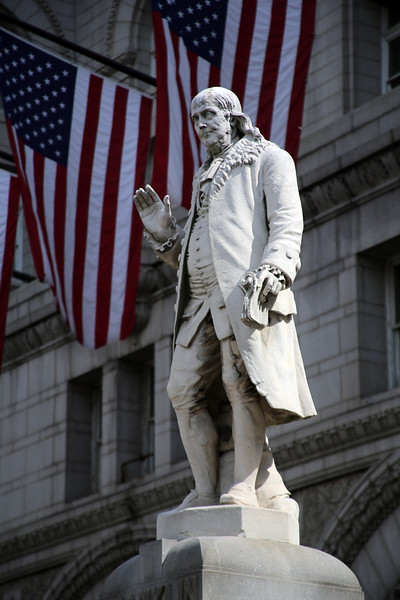 Ben Franklin in front of the Washington Old Post Office.
