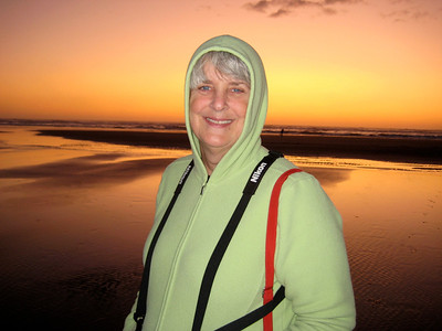 October 3, 2009 - (Ocean Shores [outer beach] / Grays Harbor County, Washington) -- Mary Anne with ocean & sunset background