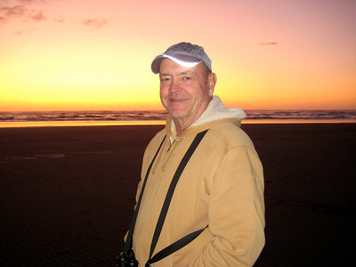 October 3, 2009 - (Ocean Shores [outer beach] / Grays Harbor County, Washington) -- David with ocean & sunset background