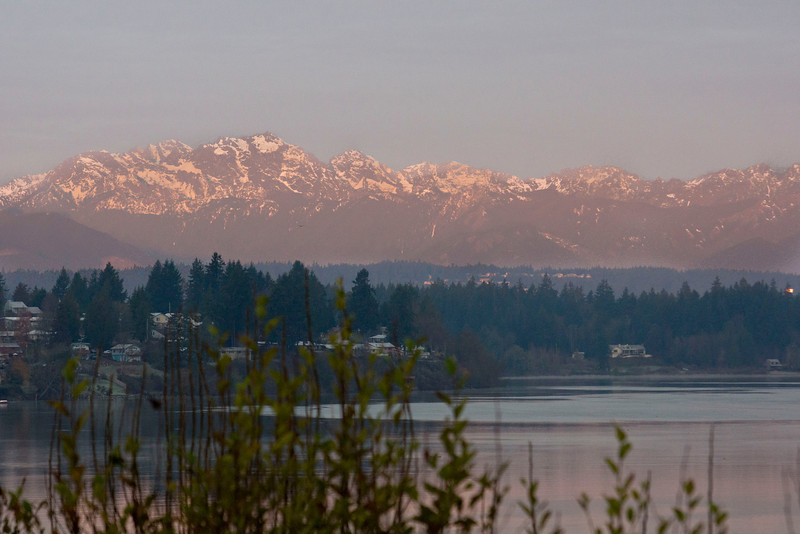 Dawn, the Olympic Mountain Range as seen from Bremerton WA (Phinney Bay in the foreground)
