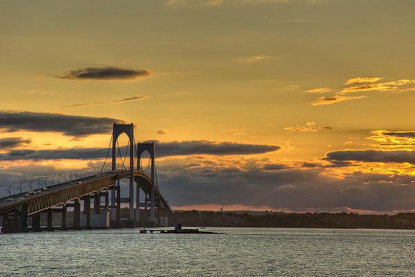 Newport  Pell Bridge north side @ sunset