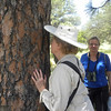 Anne & Stephanie identifying tree by smell @ Lawrence Wood Picnic Area