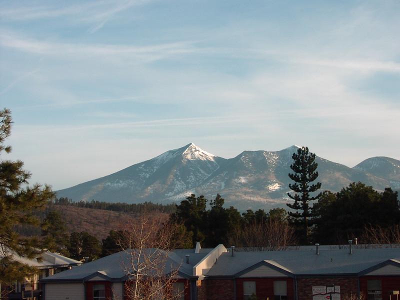 Humphreys Peak from motel parking lot at sunrise