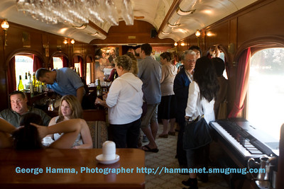 For the sequence of dining followed by a winery tour, the train trip starts in one of the three dining cars.  After an excellent meal, the group retires to one of the lounge cars for an equally delightful dessert.