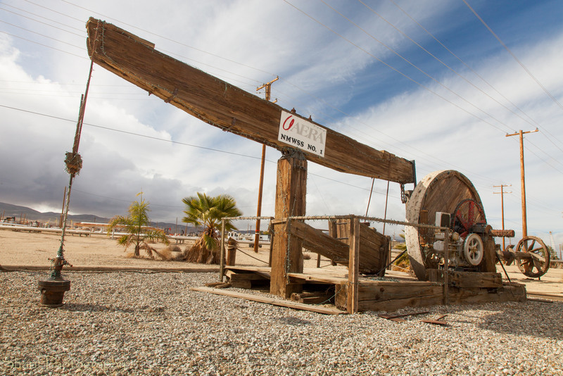 An old-fashioned oil derrick is on display at one of the oil fields in Southern California.